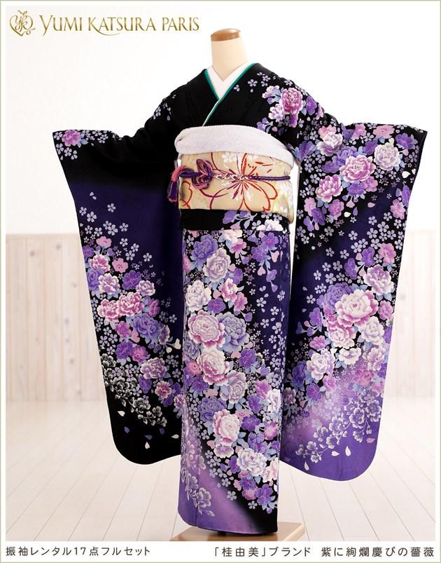 桂由美振袖レンタル「紫に絢爛慶びの薔薇」