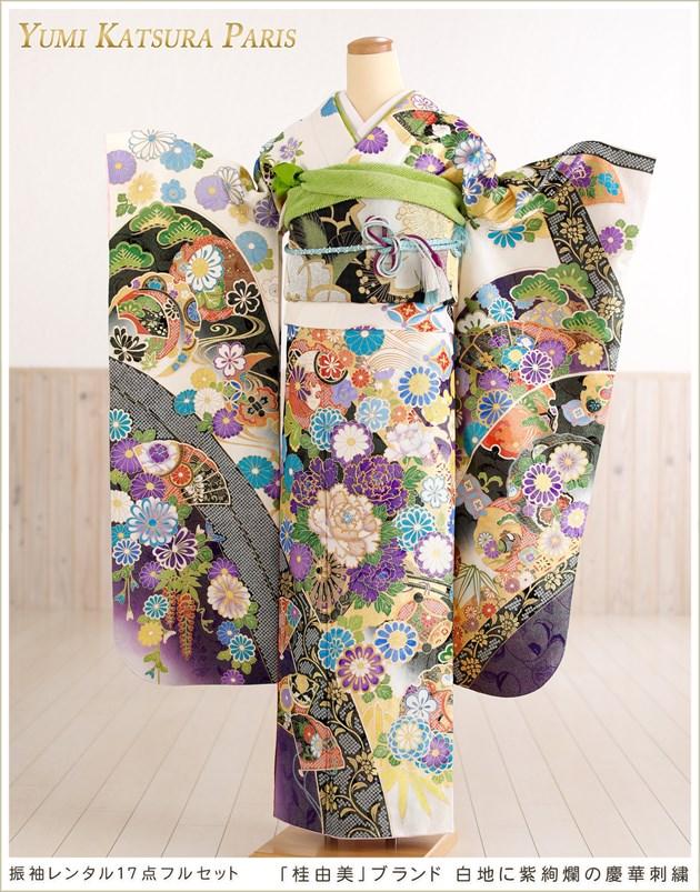 桂由美ブランド「プレミアム」 白地に紫絢爛の慶華刺繍