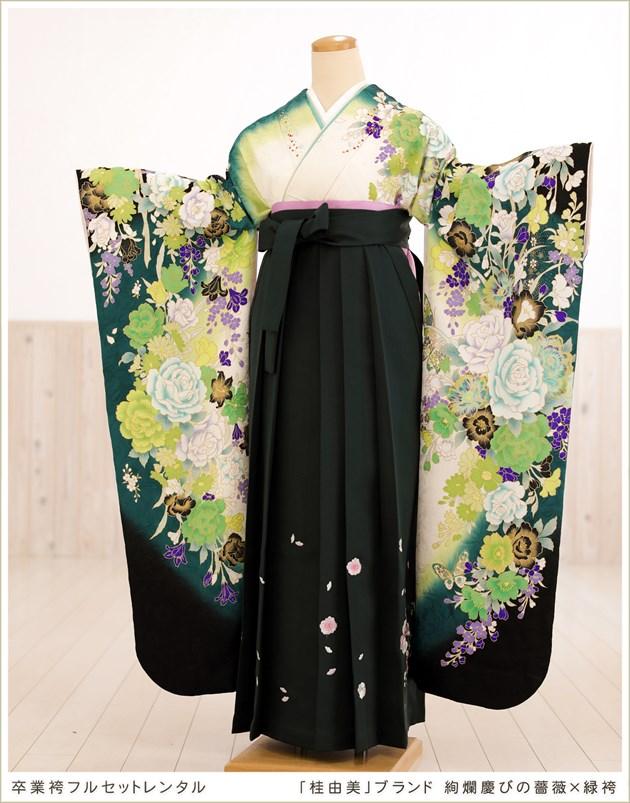 「桂由美」ブランド 絢爛慶びの薔薇×緑袴