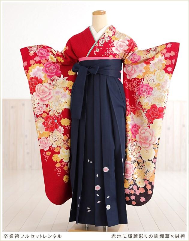 赤地に輝麗彩りの絢爛華×紺袴