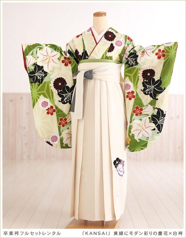 「KANSAI」 黄緑にモダン彩りの慶花×白袴