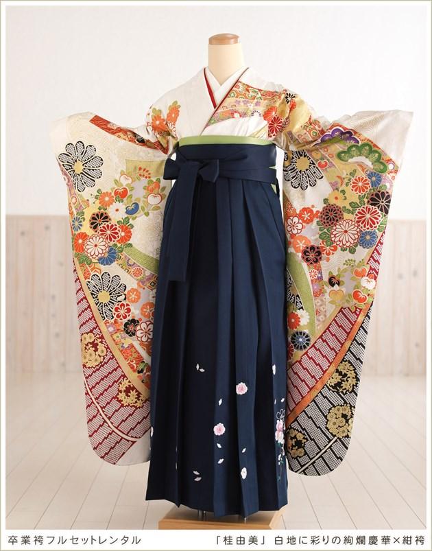 「桂由美」ブランド 白地に彩りの絢爛慶華×紺袴