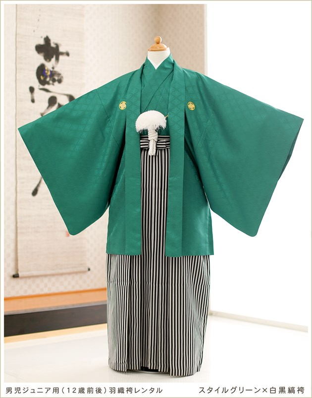 スタイルグリーン×白黒縞袴