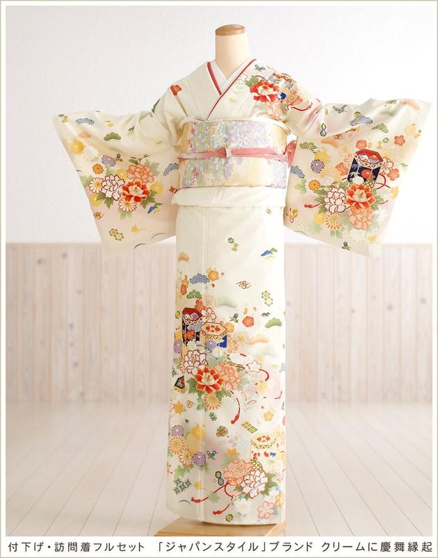 ジャパンスタイル 訪問着レンタル「クリームに慶舞縁起」
