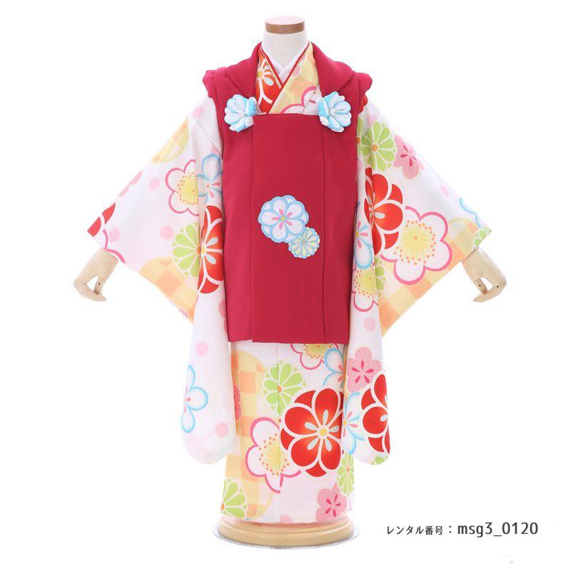 大柄花の3歳女の子着物