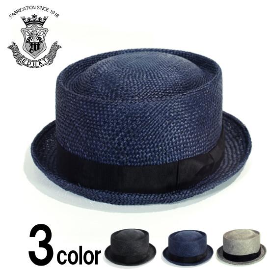 ポークパイハット ストローハット 天然草 メンズ 紳士 帽子