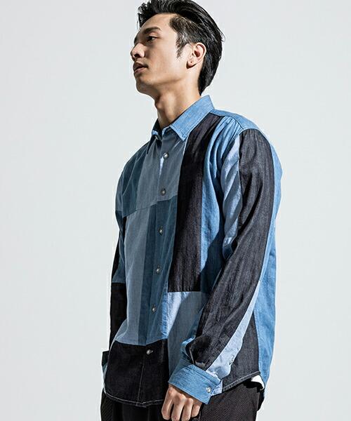 【ANSEASON ANREALAGE】dungaree panel patchwrok shirt シャツ(19sas122)