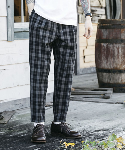 【MROLIVE(ミスターオリーブ)】T-R GLENCHECK STRETCH  -ONE PLEATS TAPERED EASY PANTS パンツ(M-19118)