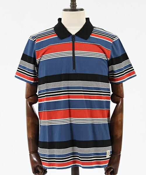 【Nudie Jeans(ヌーディージーンズ)】MIKAEL MULTI STRIPE ZIPPER ポロシャツ(131622)