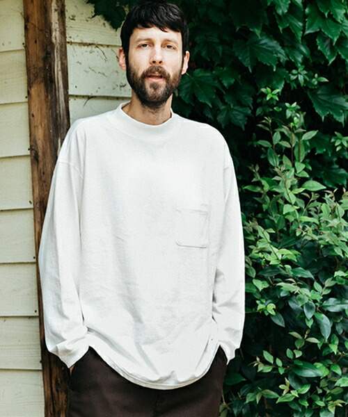 【MROLIVE(ミスターオリーブ)】12-1 EMERALD HEAVY WEIGHT PLAINSTITCH -BOTTLE NECK LONG SLEEVE T-SHIRT Tシャツ(M-19324)