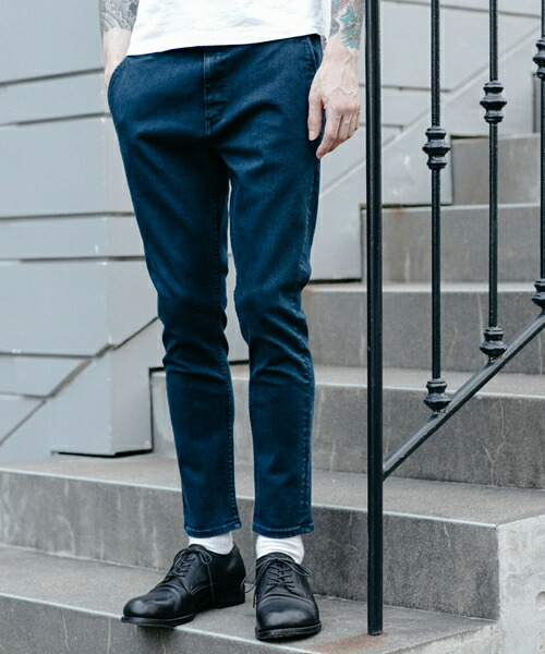 【MROLIVE(ミスターオリーブ)】SUPER STRETCH DENIM -AGEING NAVY ANKLE CUT WORKERS EASY PANTS デニムパンツ(M-19306)