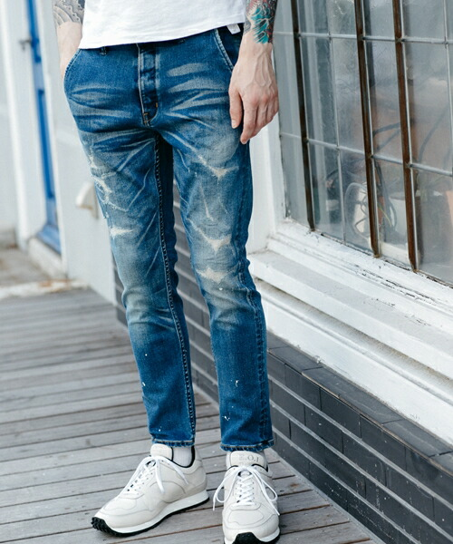 【MROLIVE(ミスターオリーブ)】SUPER STRETCH INDIGO DENIM -SHAVED REMAKE ANKLE CUT SLIM PANTS デニムパンツ(M-19310)