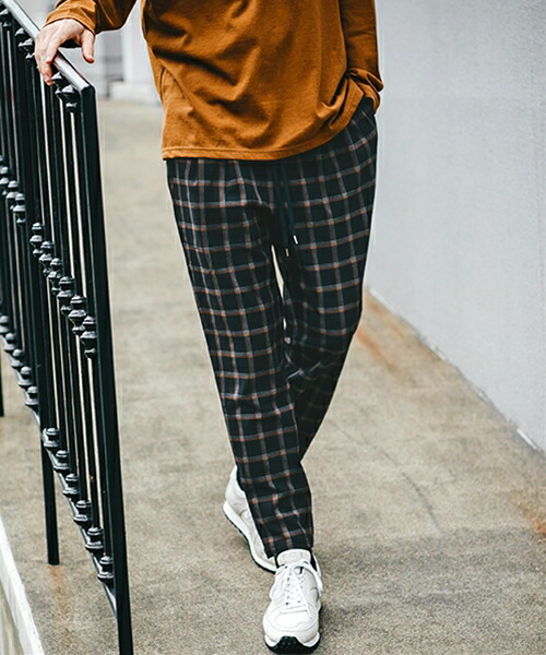 【MROLIVE(ミスターオリーブ)】STRETCH THERMO CHECK -TWO PLEATS TAPERED EASY PANTS パンツ(M-19328)