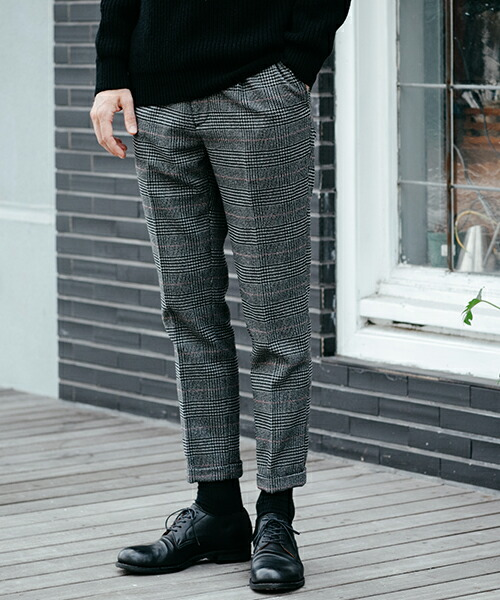 【MROLIVE(ミスターオリーブ)】TECH TWEED CHECK -ONE PLEATS STA-PREST TAPERED PANTS パンツ(M-19346)