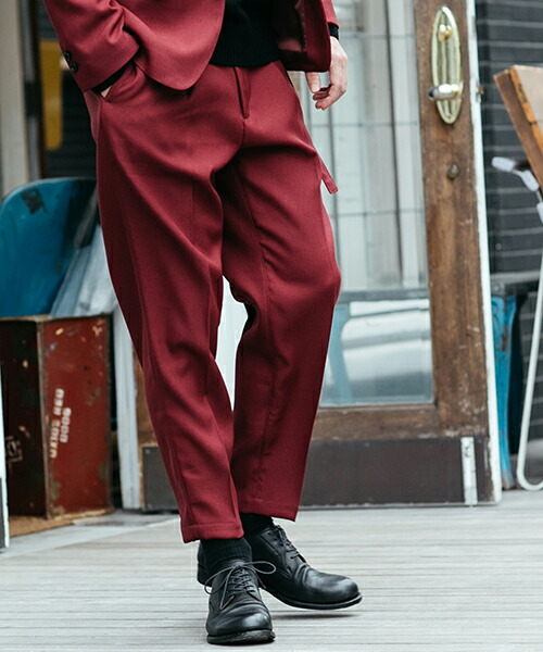 【MROLIVE(ミスターオリーブ)】RETORO POLYESTER TWILL -BELTED WIDE TAPERED PANTS パンツ(M-19101)