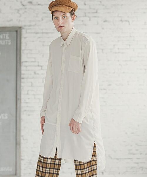 【d3d5)】裾切替ロングシャツ(d3d5-8018)