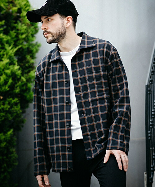 【MROLIVE(ミスターオリーブ)】STRETCH THERMO CHECK -COVERALL SHIRT シャツ(M-19327)