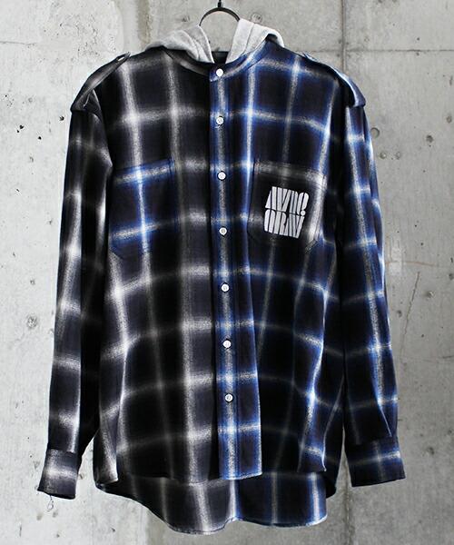 【MYne(マイン)】2-tone hoodie check shirt シャツ(G04SH141)