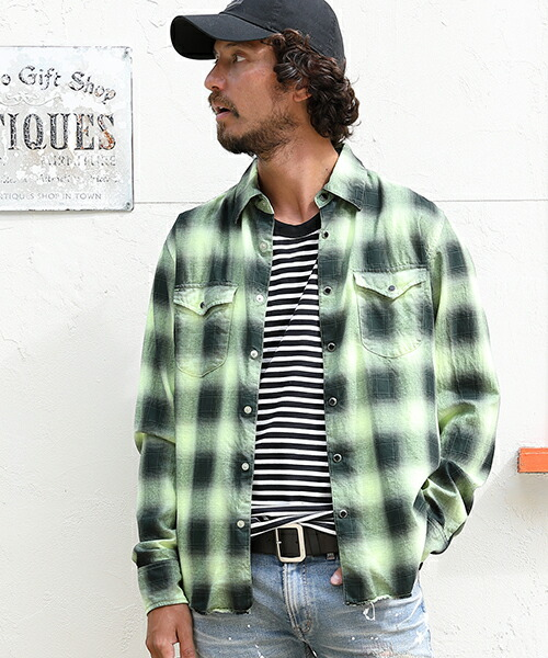 【TMT(ティーエムティー)】80S NEON COLOR OMBRE CHECK SHIRTS オンブレチェックシャツ(TSHS2004)