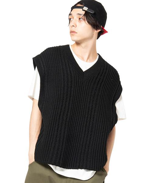 【glamb(グラム)】Oversize knit vest -オーバーサイズニットベスト(GB0120-KNT09)