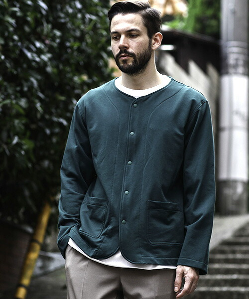 【MROLIVE(ミスターオリーブ)】SUVIN GIZA LIGHT URAKE -NO COLLAR CARDIGAN カーディガン(M-20116)