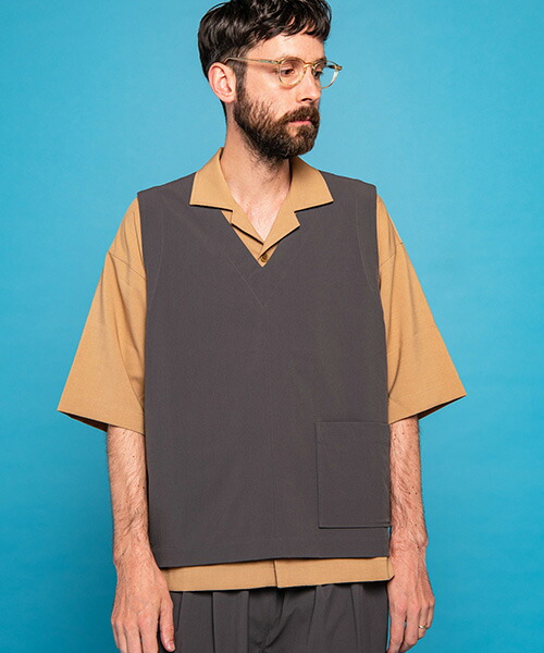 【MROLIVE(ミスターオリーブ)】COOL TOUCH 4WAY STRETCH NYLON -RELAX PULLOVER VEST ベスト(M-20135)