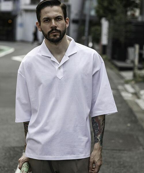 【MROLIVE(ミスターオリーブ)】GIZA COTTON PLAIN STITCH -HALF SLEEVE SKIPPER SHIRT シャツ(M-20148)