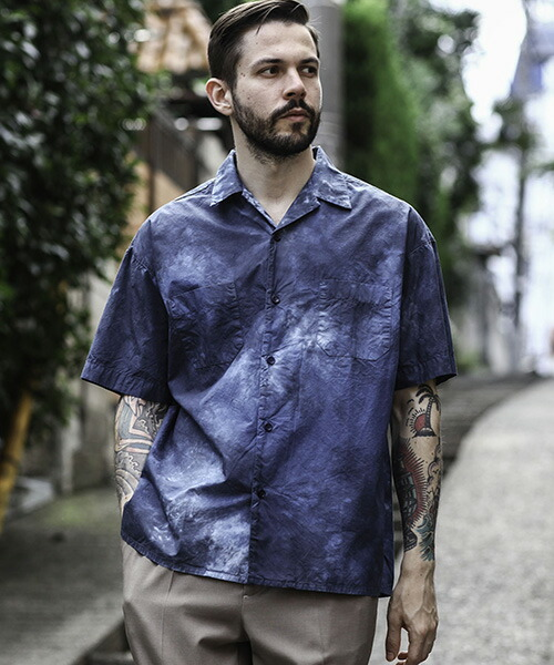 【MROLIVE(ミスターオリーブ)】COMPACT TYPEWRITER -HAND MADE TIEDYED OPEN COLLAR SHIRT シャツ(M-20150)