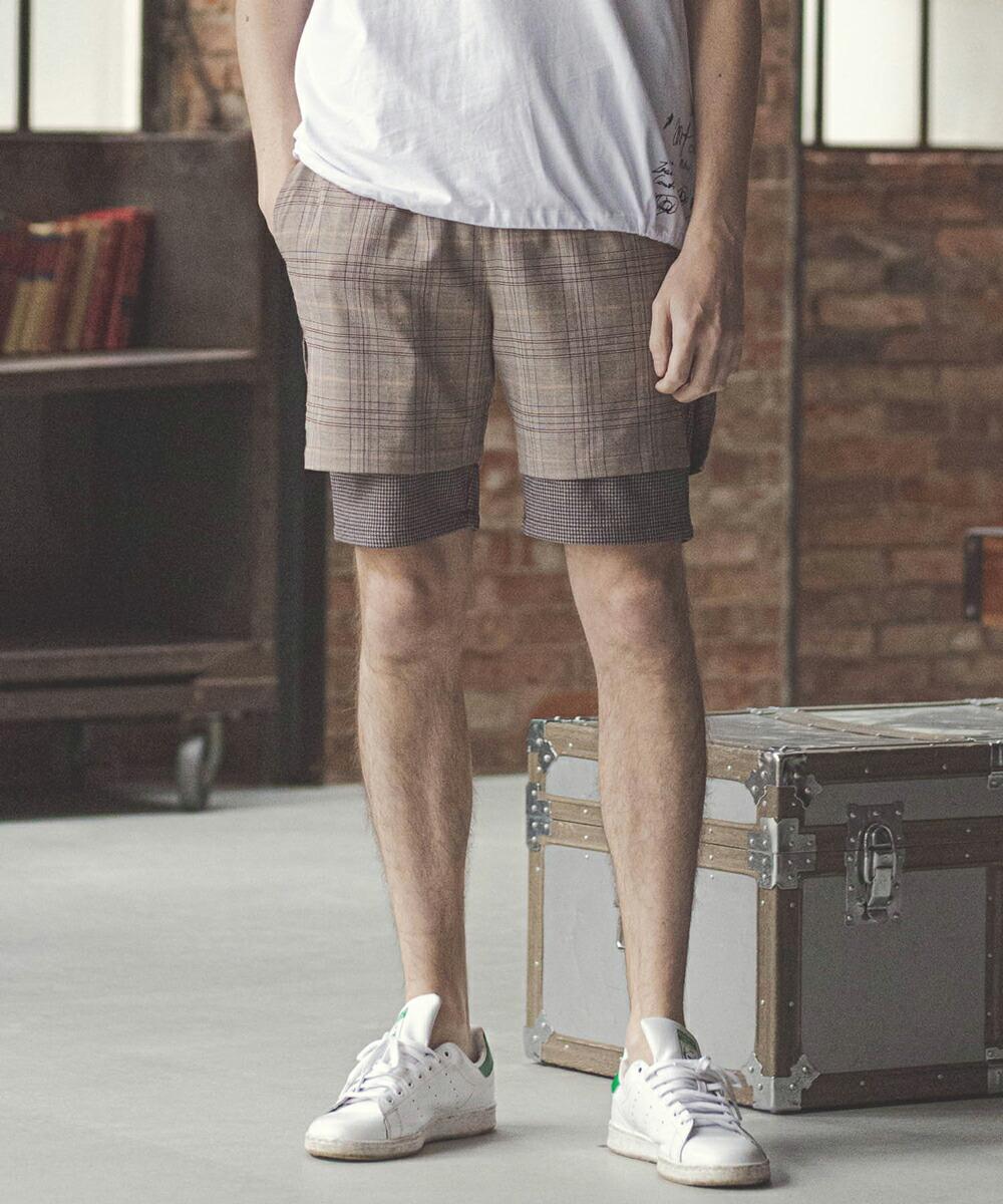 【GLIMCLAP(グリムクラップ)】Layered design Shorts ショートパンツ(011gls-ca)