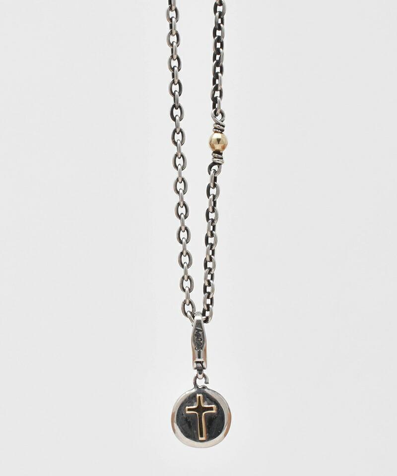 【IDEALISM SOUND(イデアリズム サウンド)】10KYG Cross on Circle Combination Necklace ネックレス(S19074)