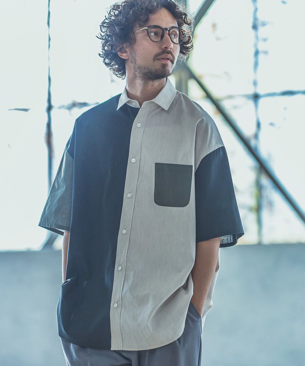 【ANGENEHM(アンゲネーム)】Coolmax Crazy Short Sleeve Over Size Shirts シャツ(MADE IN JAPAN)(ANG-022)