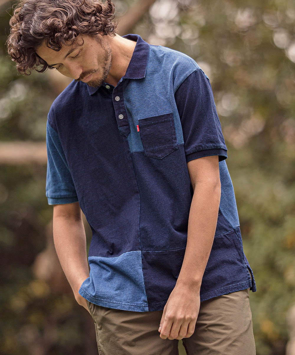 【CAMBIO(カンビオ)】Indigo Patchwork Polo Shirts ポロシャツ