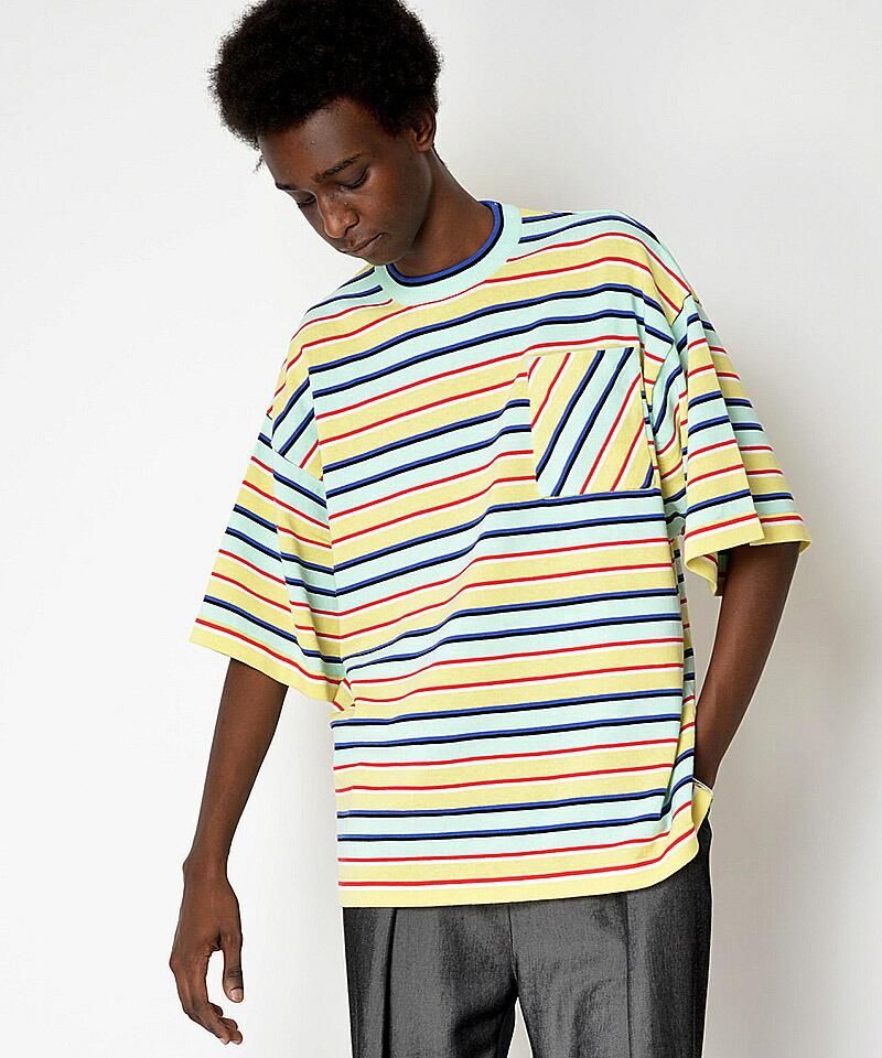【SUPERTHANKS(スーパーサンクス)】ボーダーニットビックTシャツ(ST202KT001)