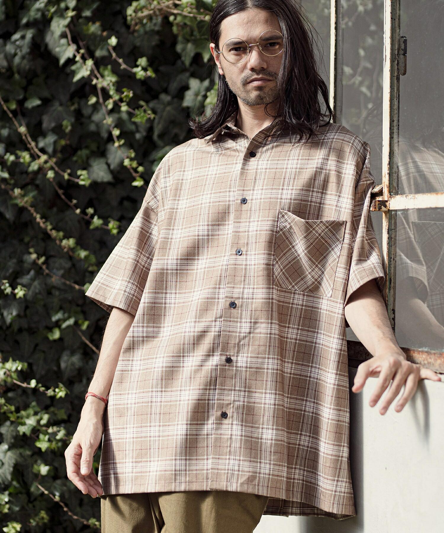 【CAMBIO(カンビオ)】Super Big Silhoutte Short Sleeve Check Shirts シャツ