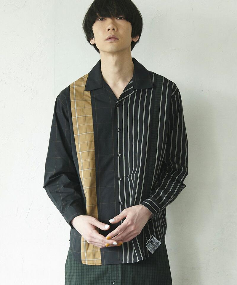 【VOY】Mixed check open collar shirt シャツ(VOY20-03)
