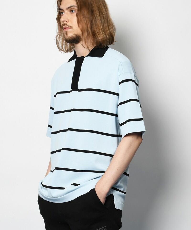 【SUPERTHANKS(スーパーサンクス)】KNIT BORDER BIC POLO SHIRT ポロシャツ(ST211KT001)