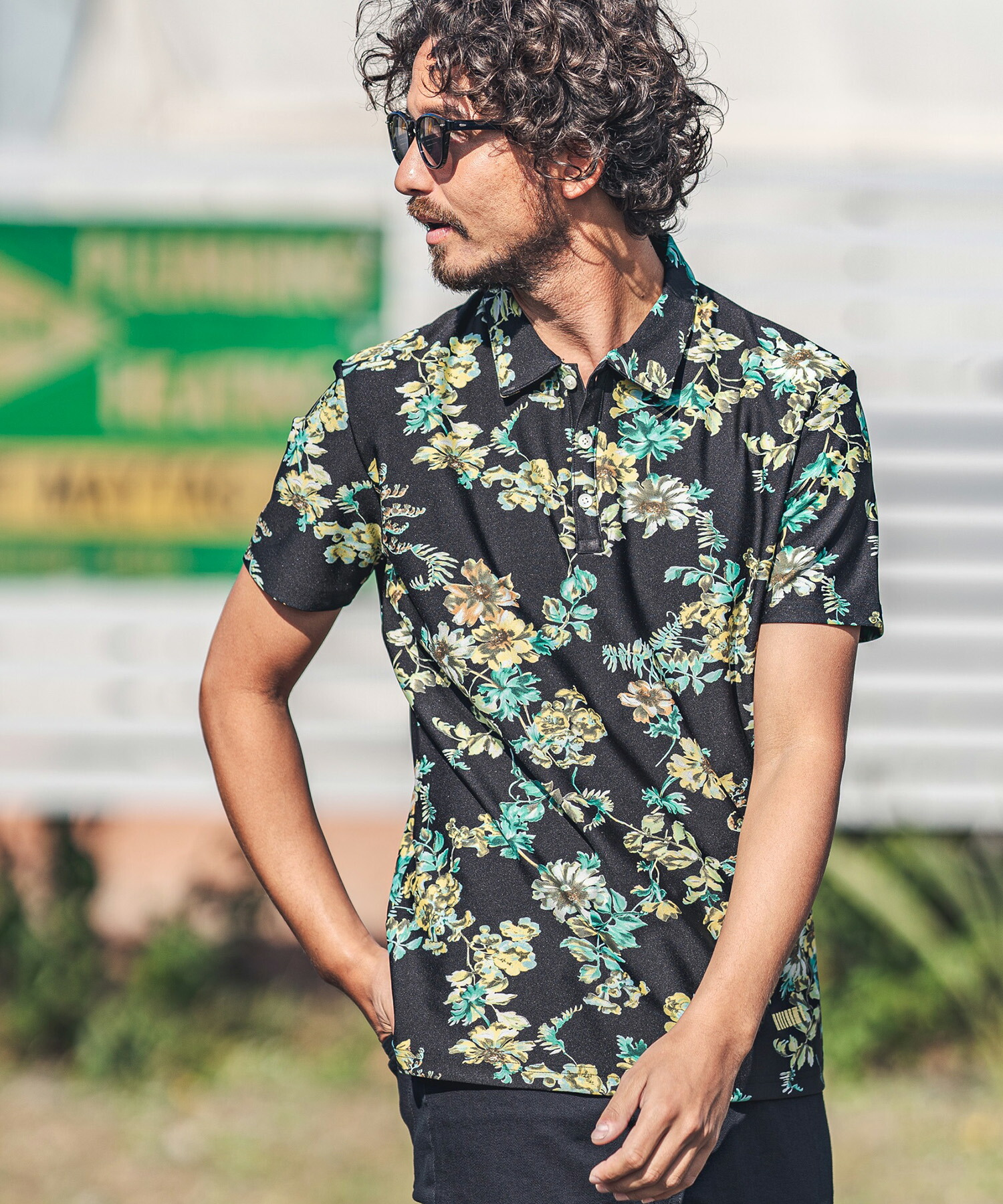 【felkod(フィルコッド)】Flower Motif Cool Touch Fabric Polo Shirts ポロシャツ(F21S100)