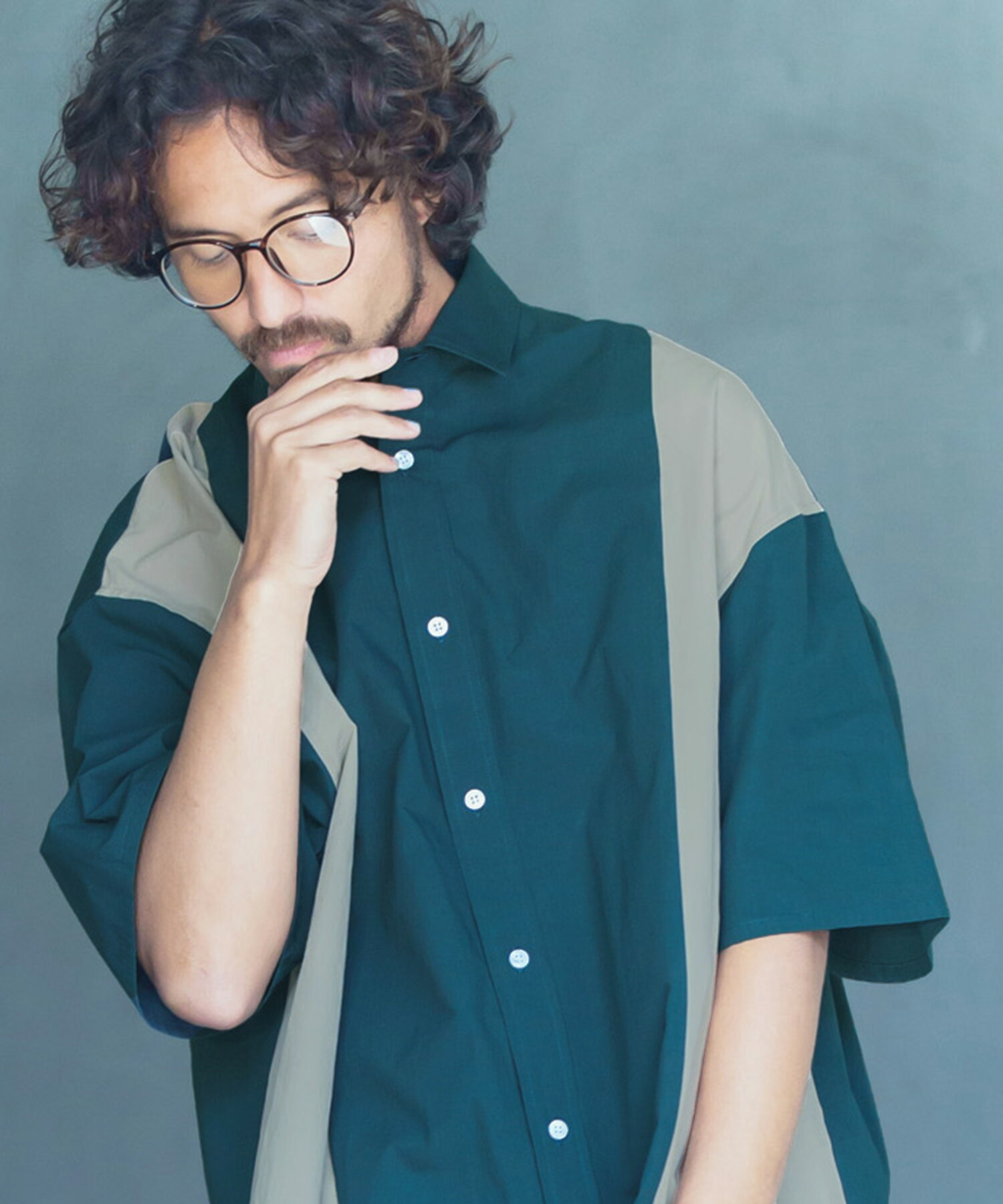 【ANGENEHM(アンゲネーム)】Flip Over Size Short Sleeve Shirts (MADE IN JAPAN) シャツ(ANG-052)