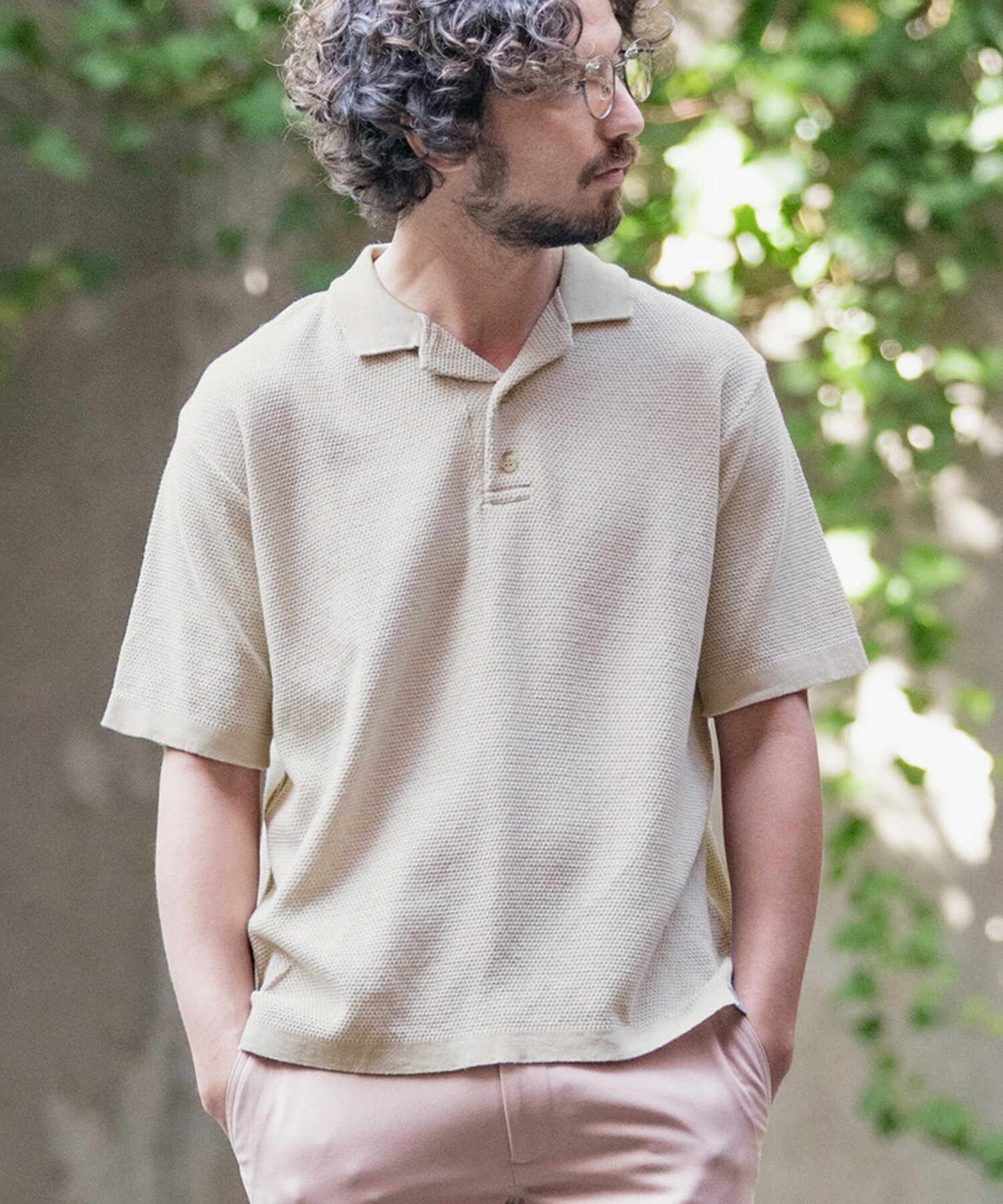 【ANGENEHM(アンゲネーム)】Cotton Linen Open Collar Knit Polo Shirts (MADE IN JAPAN) ポロシャツ