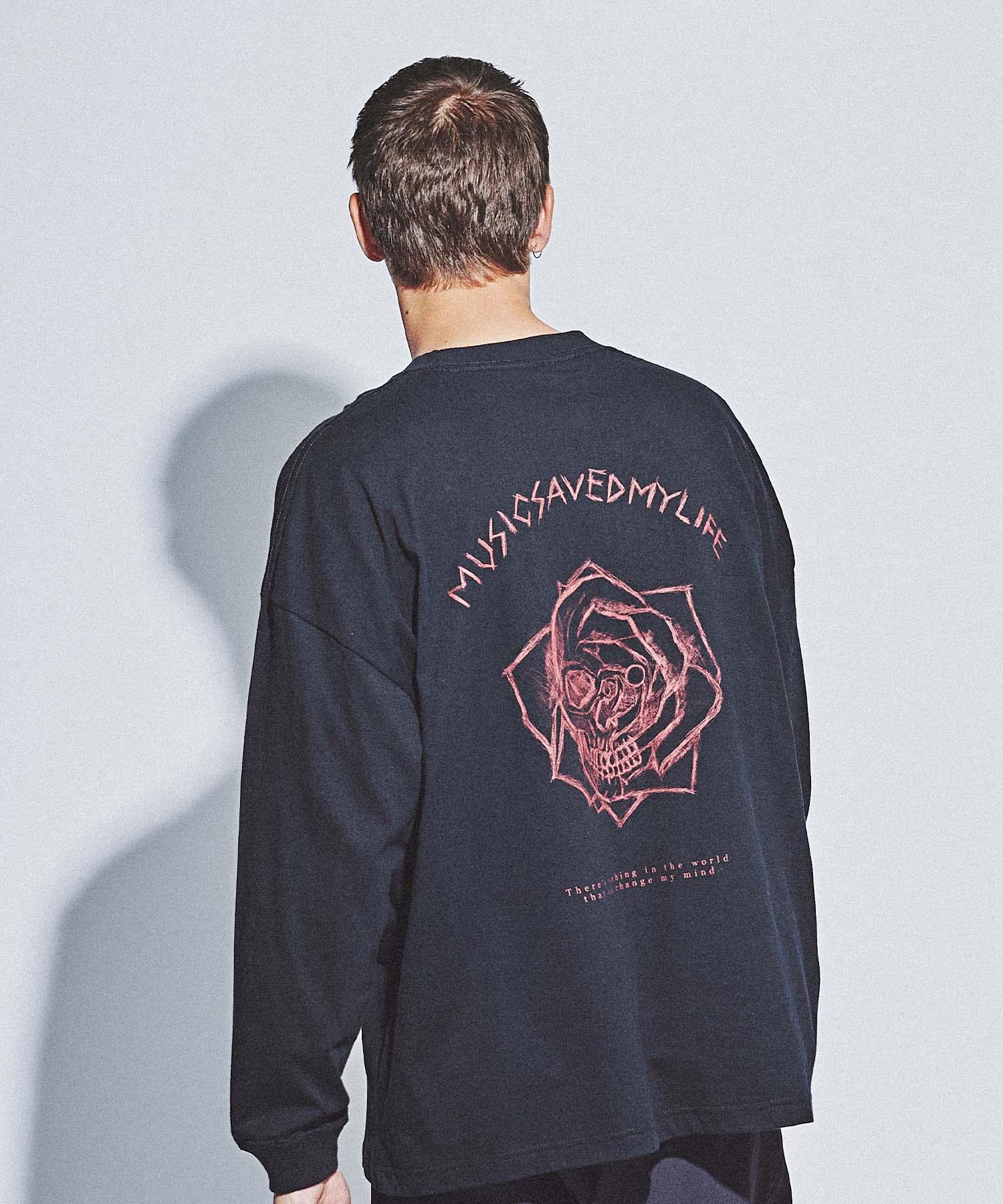 【MSML(エムエスエムエル)】ROSE&SKULL OVERSIZED LONG SLEEVE TEE Tシャツ(M21-02L5-TL01)