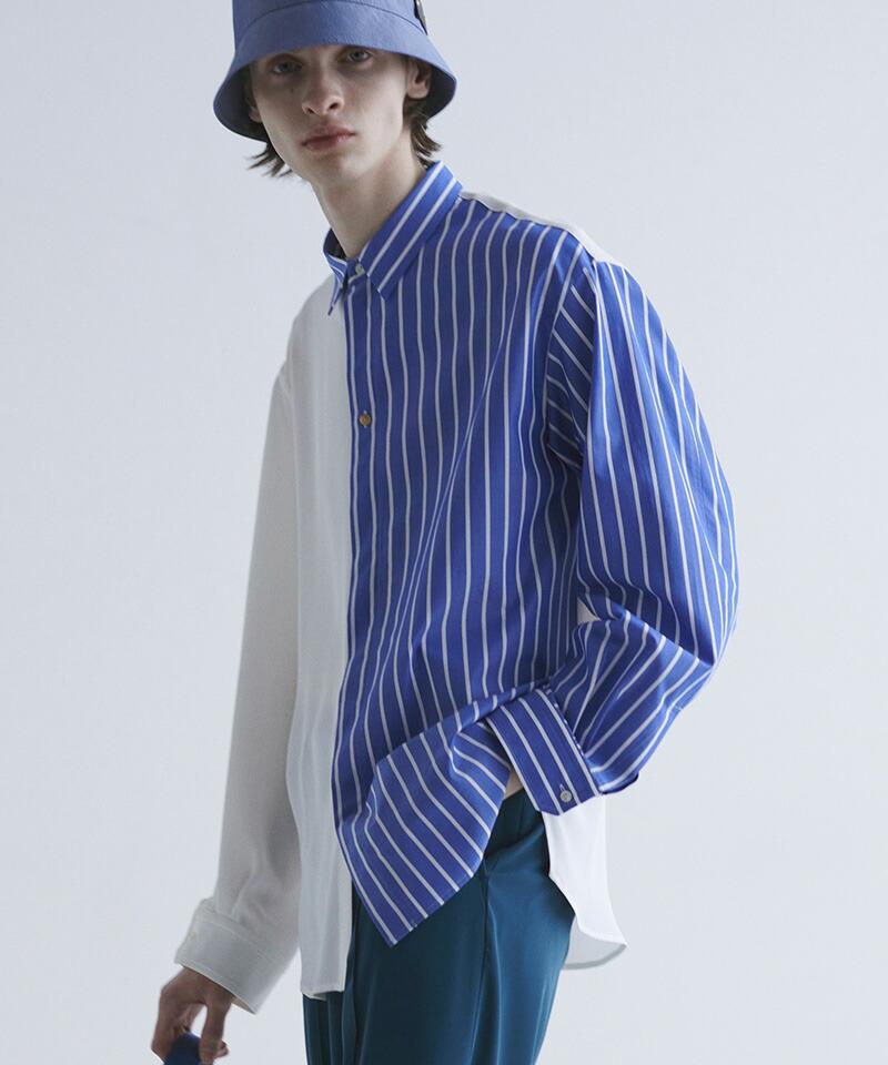 【CULLNI(クルニ)】ブロッキングストライプシャツ(21-SS-019)