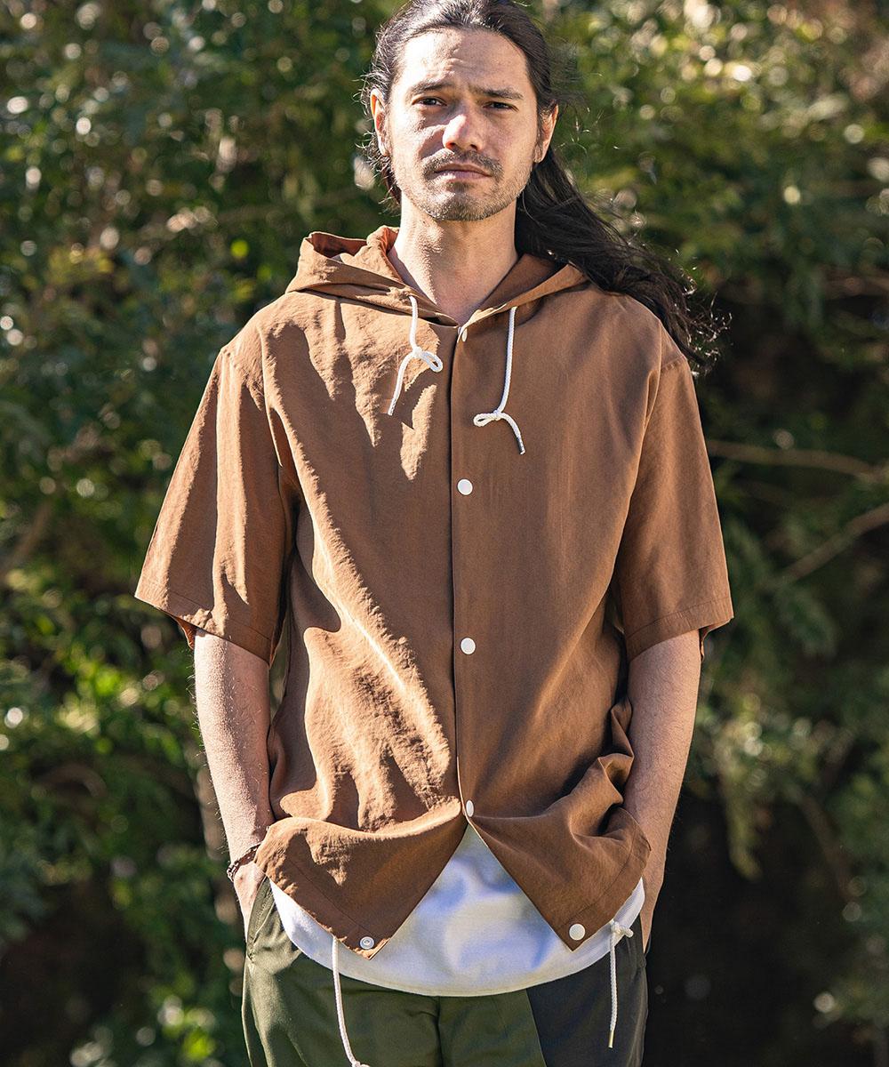 【CAMBIO(カンビオ)】Hooded Short Sleeve Dot Button Shirts シャツ
