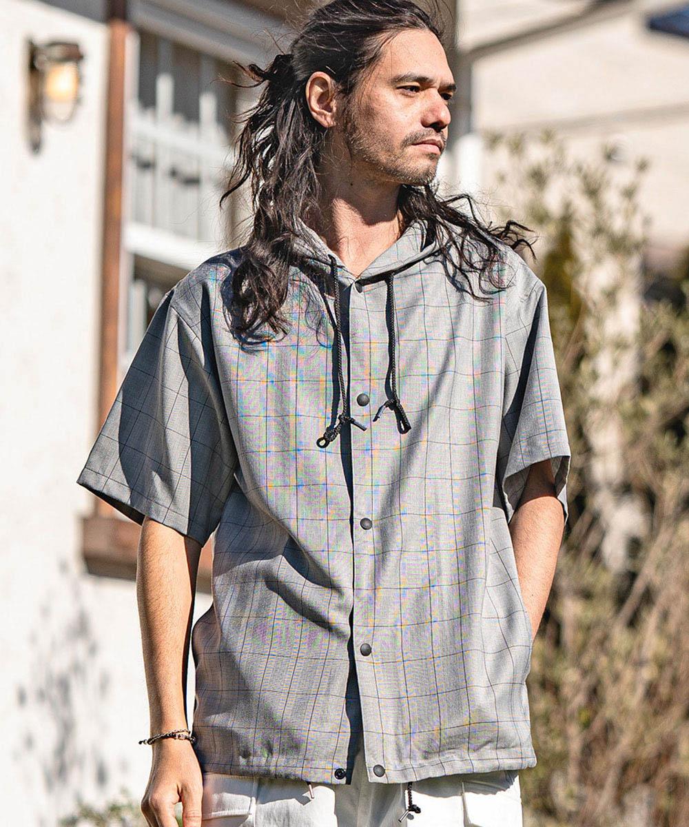 【CAMBIO(カンビオ)】Hooded Short Sleeve Dot Button Check Shirts シャツ