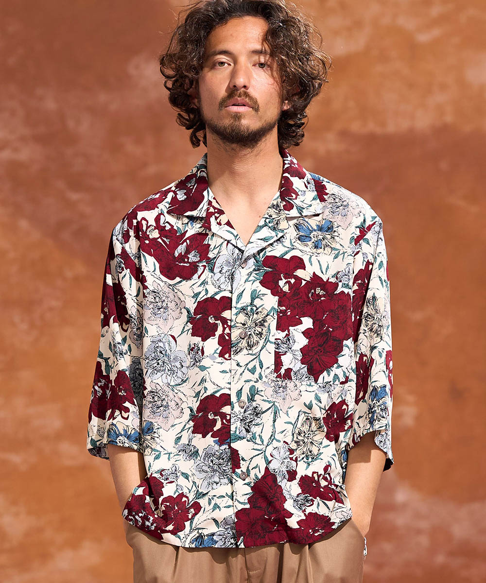 【Jih Nunc(ジーヌンク)】フラワールーズシルエット半袖シャツ(JIH-K0198)