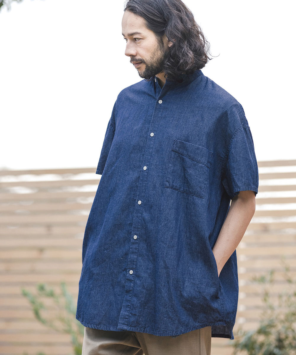 【CAMBIO(カンビオ)】Linen Mix Denim Short Sleeve Super Big Shirts シャツ
