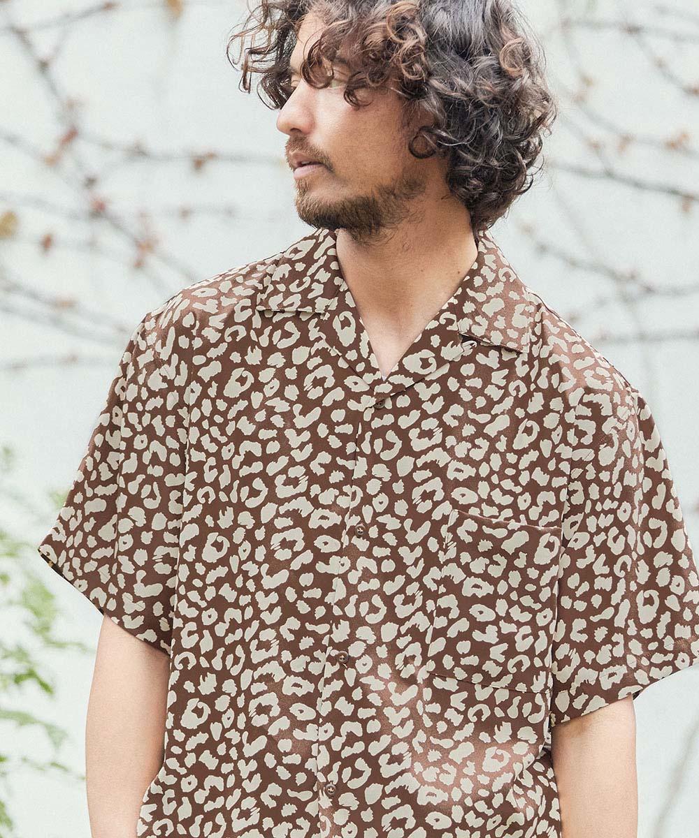 【CAMBIO(カンビオ)】ヒョウ柄半袖オープンカラーシャツ