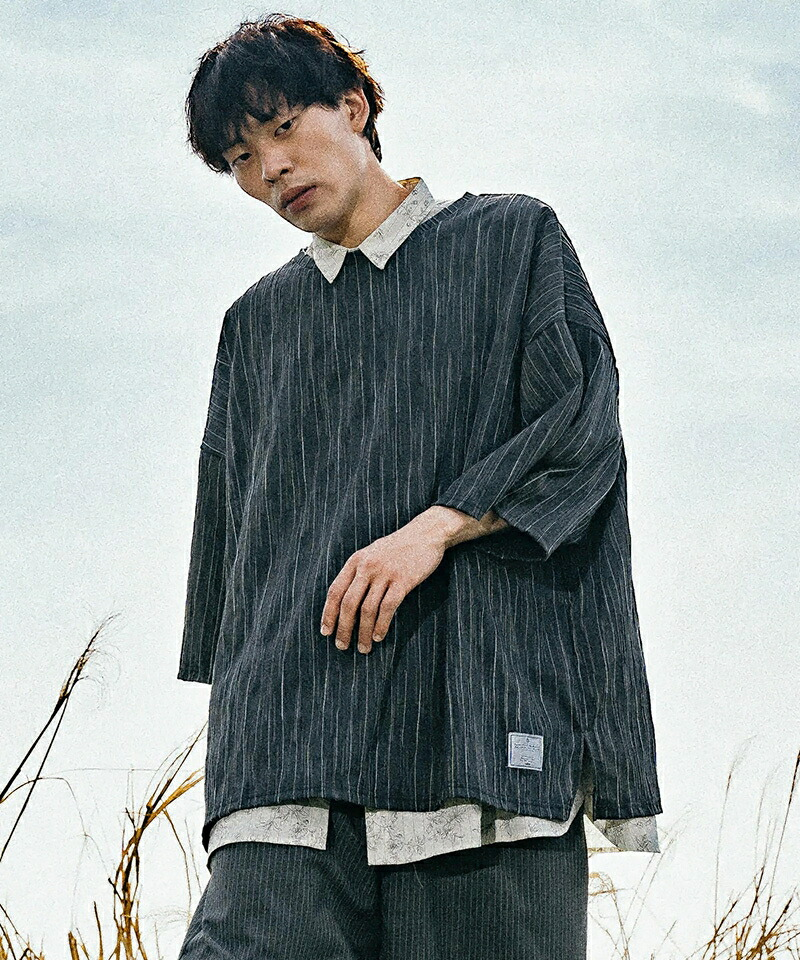 【EFFECTEN(エフェクテン)】many twists stripe pullover SH シャツ(efel-07)