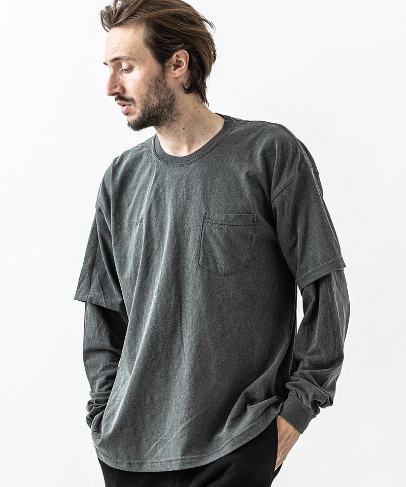 【ACANTHUS(アカンサス)】Germent DyedLayered Pocket L-S Tee Tシャツ(CT2112)