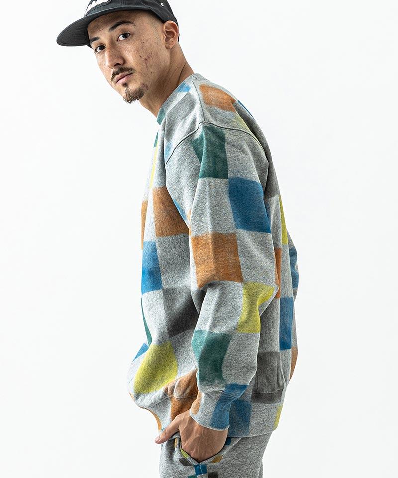 【ACANTHUS(アカンサス)】Checker Paint  Sweatshirt スウェット(HJ2105)