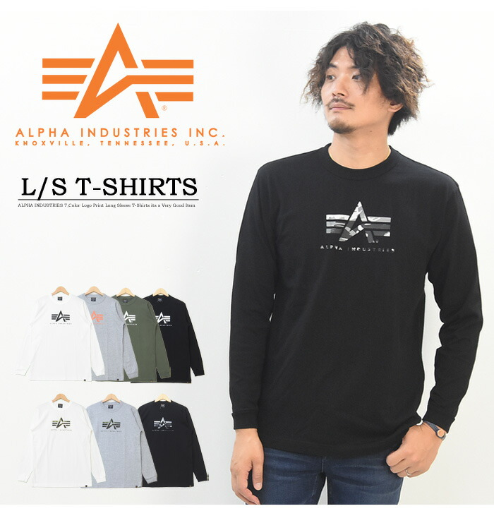 quality design a0856 ee318 ALPHA INDUSTRIES alpha industry logo print long sleeves T-shirt A-MARK  print T-shirt men Ron T long sleeves T-shirt TC1375